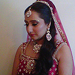 Traditional bridal makeup with curls to side Birmingham (Perry Bar)