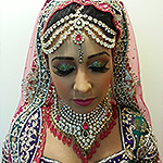 Arabian hair and makeup with glitter eyes for evening reception Leicester